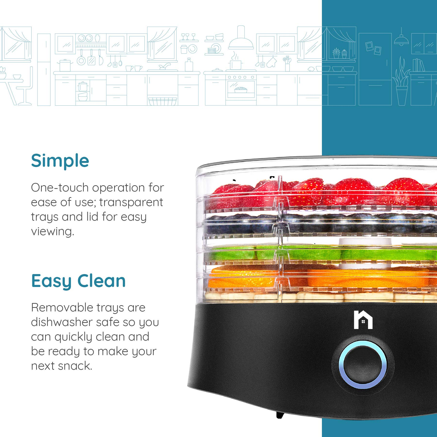 New House Kitchen 5 Round Dehydrator BPA-Free Stackable Transparent Trays Electric Professional Multi-Tier Food Preserver, Beef Jerky Maker, Fruit & Vegetable Dryer, Compact, Black by New House Kitchen (Image #2)