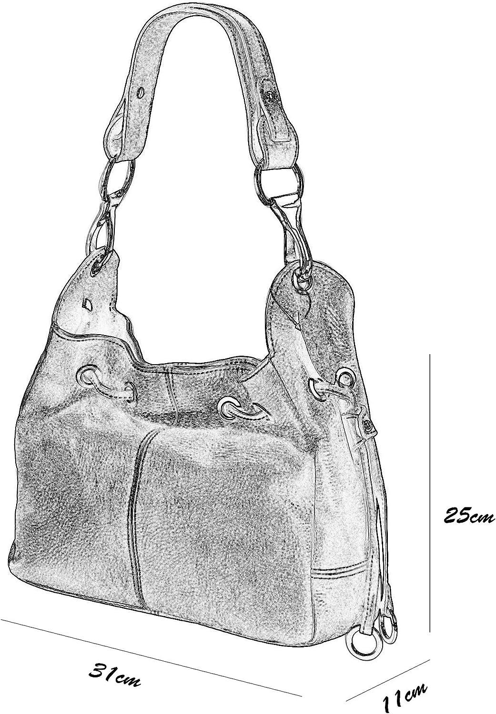 SH Leder Echtleder Schultertasche Handtasche Genarbte Leder 31x25cm Anna G488 Dunkel Taupe