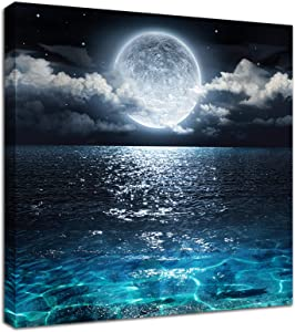 Moon Painting Canvas Wall Art - Bright Moonrise On Sea Ocean Cloud Picture for Living Room Decor 12x12inch Framed Print Modern Landscape Nature Poster Ready to Hang Office Bedroom Bathroom Artwork
