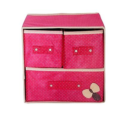 Pindia Foldable Fabric Storage Box Organizer, 3 Drawer, Pink