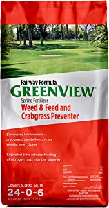 GreenView 2129267 Fairway Formula Spring Fertilizer Weed & Feed + Crabgrass Preventer, 18 lb. -Covers 5,000 sq. ft