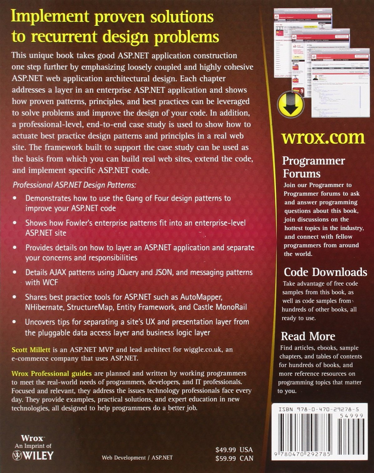 net design patterns amazoncouk scott millett 9780470292785 books