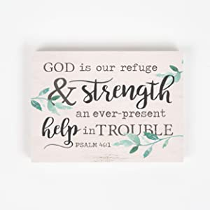 P. Graham Dunn God is Our Refuge White Wash 7.25 x 5.5 Pine Wood Decorative Block Sign