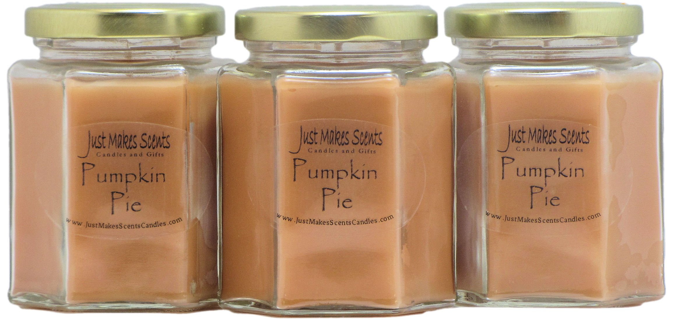 3 Pack - Pumpkin Pie Scented Blended Soy Candle | Hand Poured Fall Fragrance Candles | Made in The USA by Just Makes Scents by Just Makes Scents Candles & Gifts