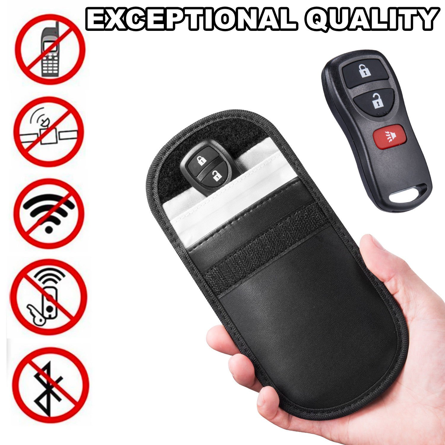 Ocamo Portable Black Car Key Signal Blocker Pouch Keyless Entry Fob Signal Guard Blocker