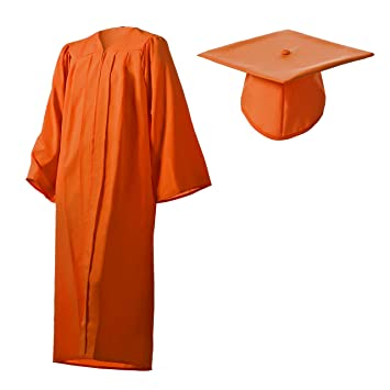 Amazon.com: Matte Orange Graduation Cap and Gown Set in Multiple ...