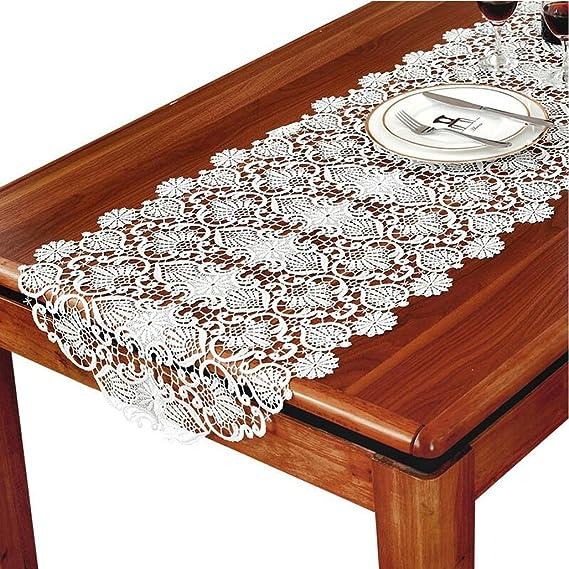 FTI-Colchonetas Encaje Blanco paño Mesa de Comedor Mesa de Centro Mesa de Centro Mantel Mantel nórdico Simple Boda Hotel Banquete decoración (Tamaño : 50 * 120cm): Amazon.es: Hogar