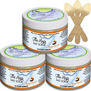 The Keys Salt Scrub : Premium Exfoliating Sea Salt Body Skin Scrubs (Mango Coconut, Bulk 3 Pack 12 oz)