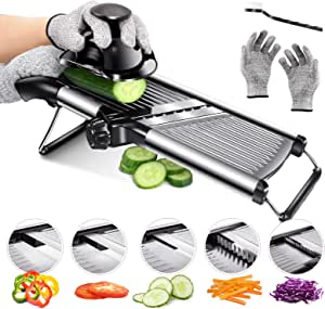 Mandoline Food Slicer Adjustable Thickness for Cheese Fruits Vegetables Stainless Steel Food Cutter Slicer Dicer with Extra Brush and Blade Guard for Kitchen