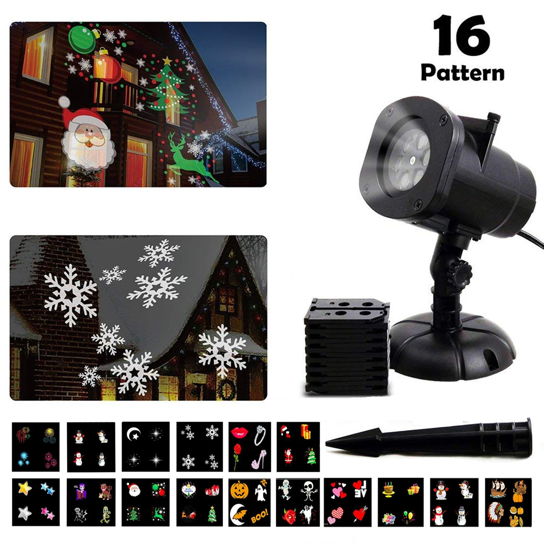 LED Projektionslampe Weihnachten, Halloween LED Effektlicht mit 16 wechselbare Musters für wasserdicht Outdoor-Garten-Lampe Projektor Garten Dekoration Außenbeleuchtung für Weihnachten Halloween Hochz MINPE