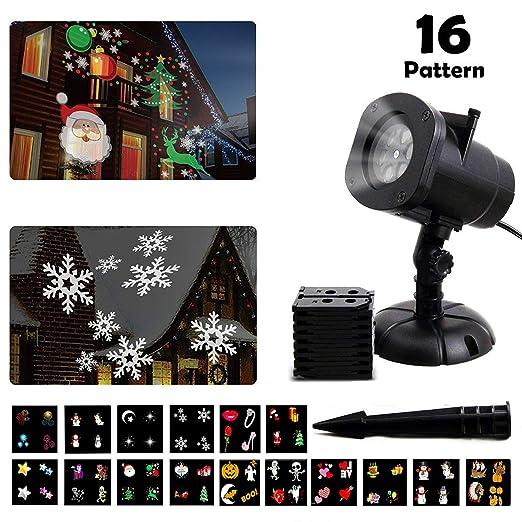 Proiettore Luci Di Natale Amazon.Led Proiettore Luci Natale Proiettore Luci Di Halloween 16 Tipi Temi Sostituibile Diapositive Impermeabile Lampada Di Proiezione Con Wireless