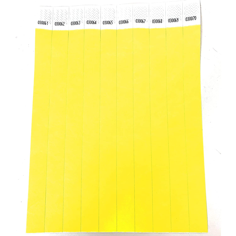 Festivales/ /12/colores disponibles Lote de 100/pulseras papel Tyvek 19/mm para eventos color amarillo fluorescente 19mm /irrompible y personalizable/