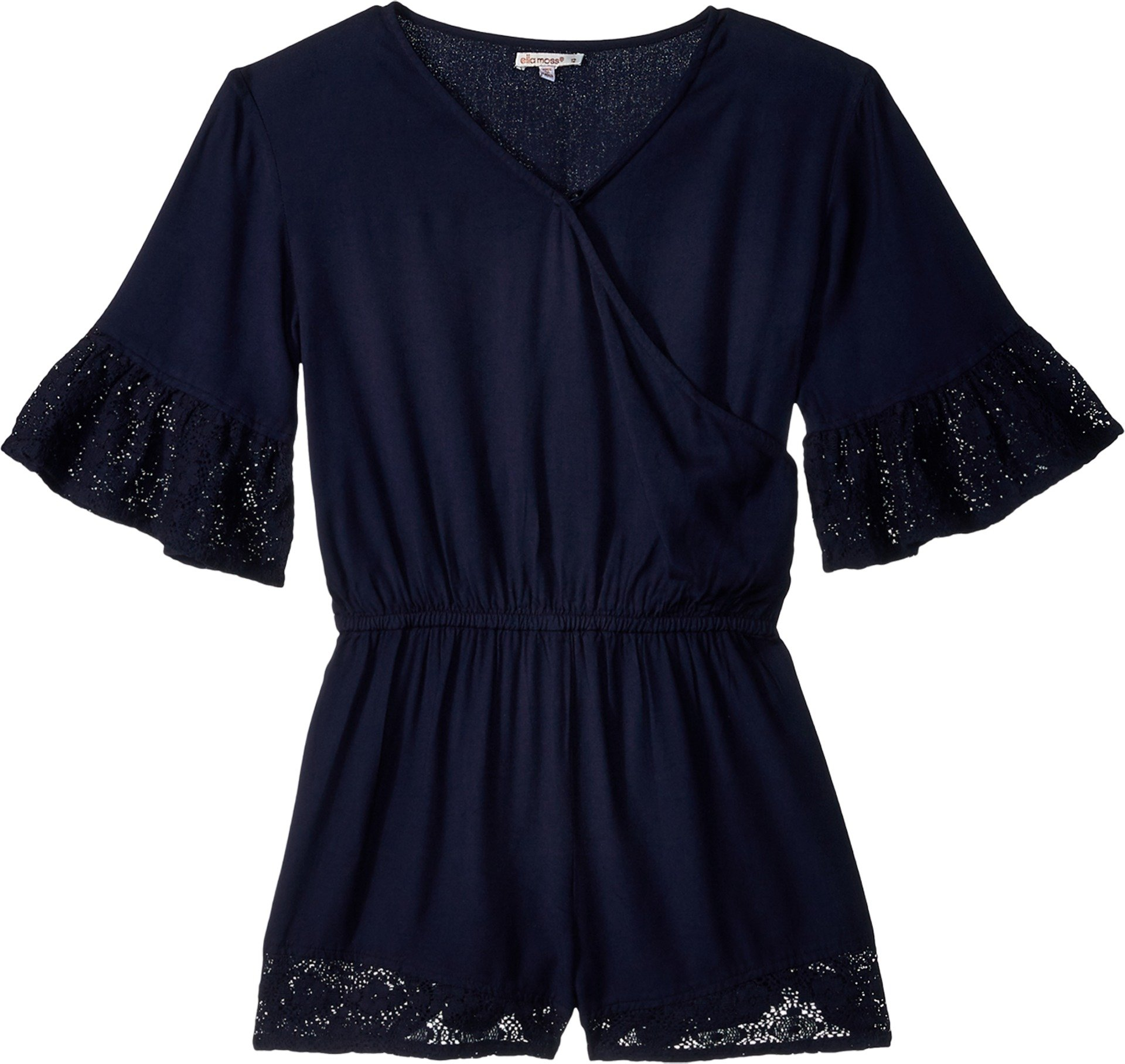 Ella Moss Big Girls' Voile Romper with Lace Trims, Full Sail, 12