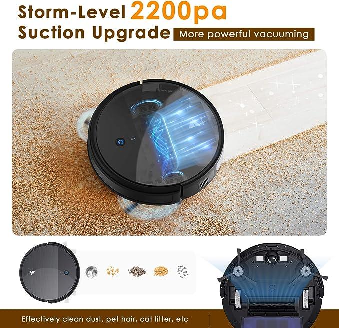 Planification de Parcours Hosome Aspirateur Robot 2 en 1 Robot Aspirateur Laveur avec r/éservoir deau 300ML /à Chargement Automatique Connect/é Wi-FI et Alexa