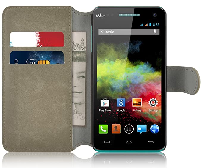 buy popular 19602 b0d49 Amazon.com: Wiko Rainbow Case - Retro Leather Wallet Flip Cover for ...