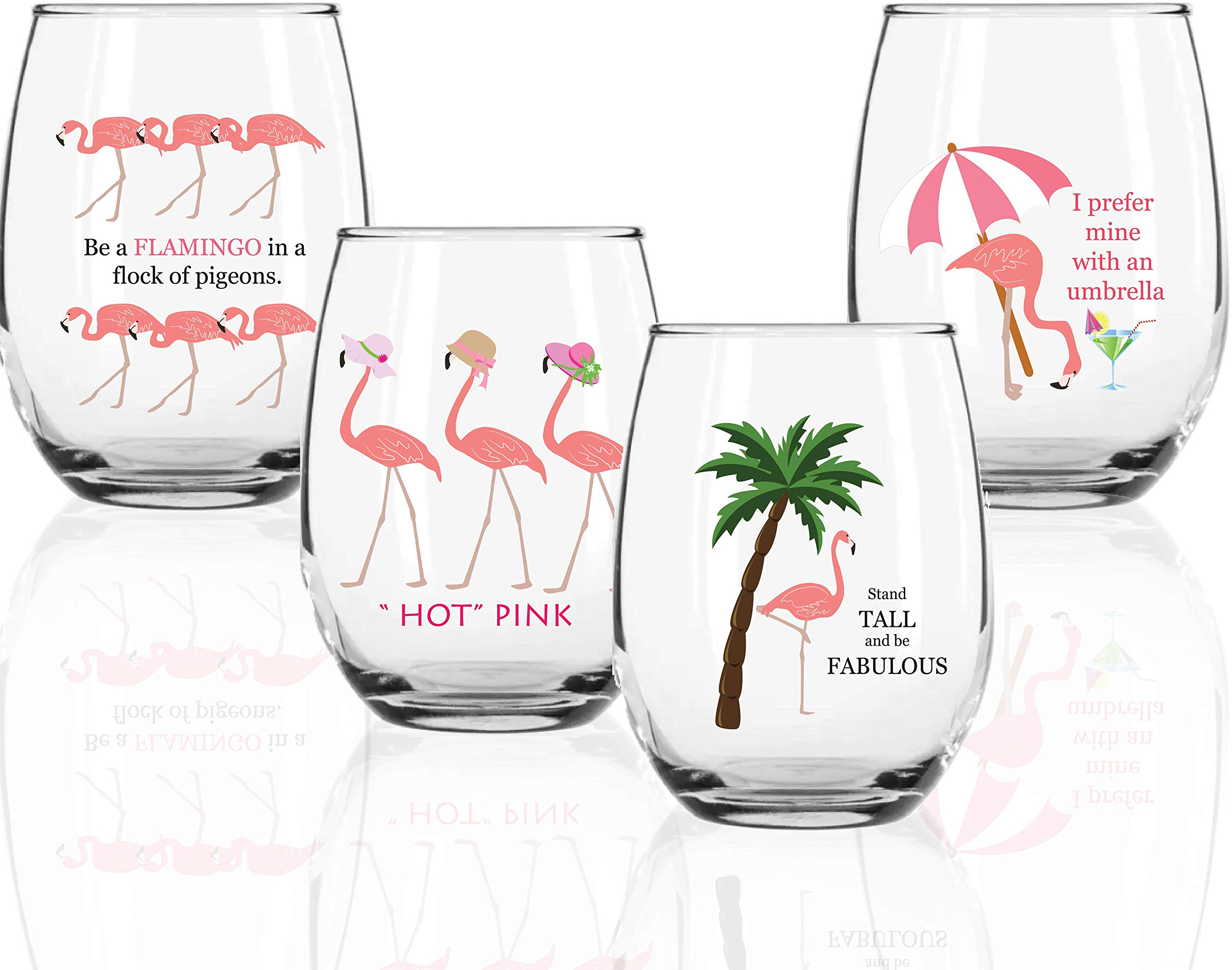 Circleware Flamingo Stemless Wine Glasses with Decal, Set of 4, Home & Kitchen Funny Party Entertainment Dining Glassware for Water, Beer, Juice, Ice Tea, Whiskey Bar Beverage Cup Gifts, 18.5 oz, by Circleware (Image #1)