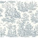 York Wallcoverings WA7830 Waverly Classics Country Life Wallpaper, Pure White/Delft Blue