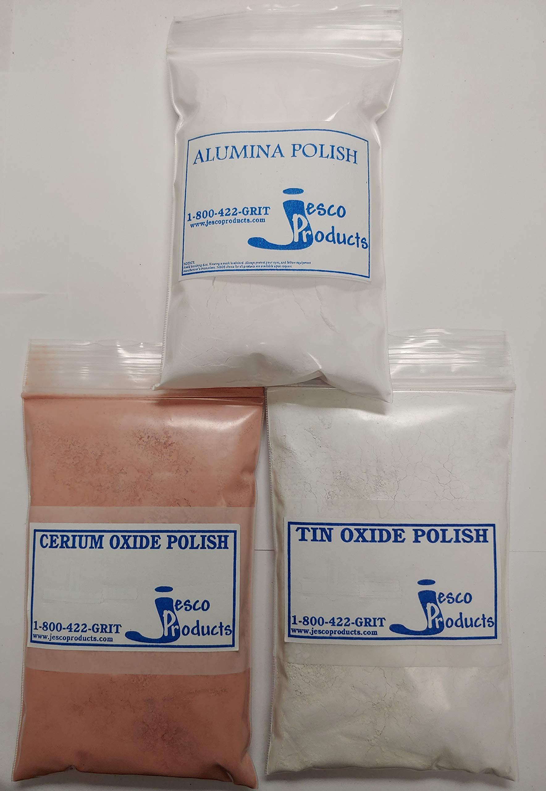 JESCO Rock Polish Multi-kit, Cerium Oxide, Tin Oxide, Alumina.
