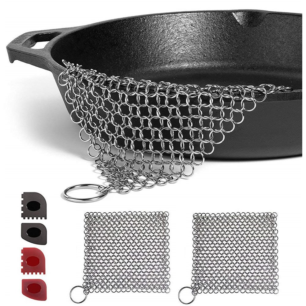 Familite Cast Iron Cleaner Set 6 Packs, 2pcs 7'' x 7'' 316L Stainless Steel Chainmail Scrubbers, 2 Pan Scrapers, 2 Grill Scrapers Skillets Cast Iron Pan, Gift Kitchen