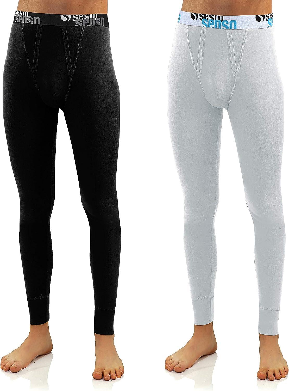 Sesto Senso/® Calzamaglia Lunga Uomo Cotone 2 Pack Biancheria Intima Pantaloni Termici Funzionali