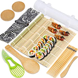 Fuairmee Sushi Making Kit,All In One Sushi Maker with Sushi Bazooka,Bamboo Mats, Bamboo Chopsticks, Paddle, Spreader, Sushi Knife, Chopsticks Holder and Cotton Bag for DIY,Gifts Box