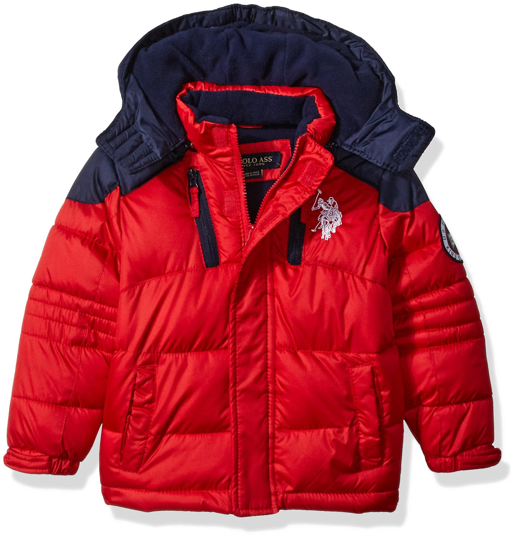 U.S. Polo Assn. Boys' Bubble Jacket (More Styles Available), Winning Red Blue, 4