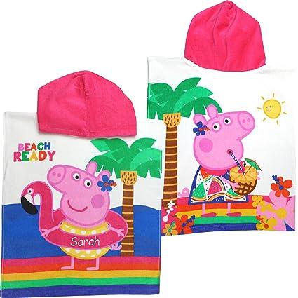 Personalizada Peppa Pig playa listo Super algodón suave Poncho con capucha toalla de baño