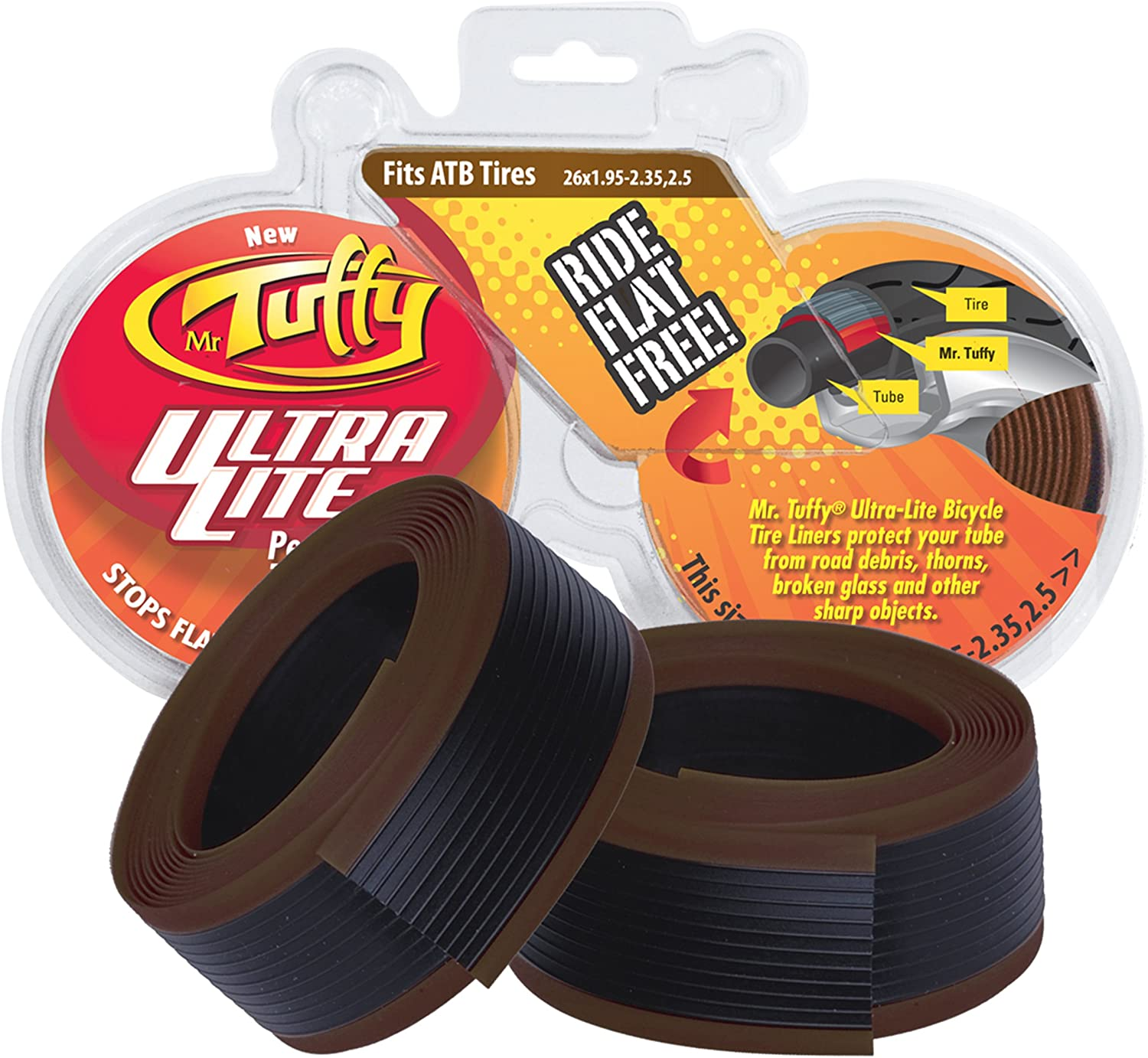 MR TUFFY ANTI-FLAT TIRE LINER FRONT AND REAR 700x20-25 ORANGE PAIR