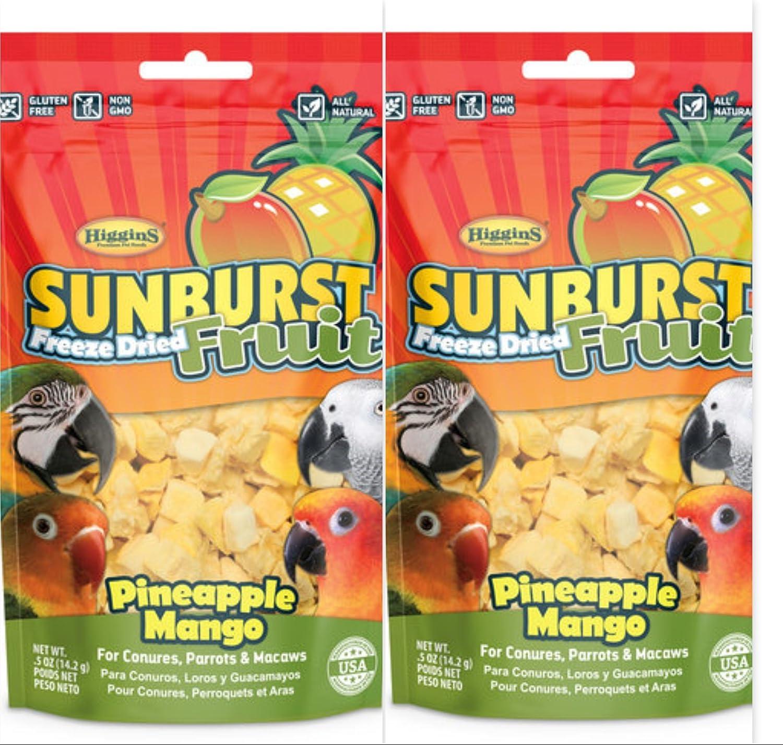 Higgins 2 Pack Sunburst Freeze Dried Fruit Pineapple Mango .5 Oz Ea Fun Bird Snack Treat