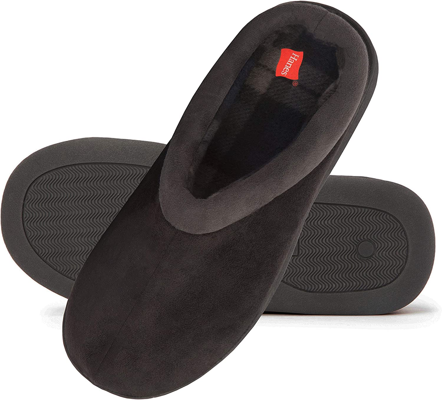 Hanes Men's Memory Foam Indoor Outdoor Microsuede Clog Slipper Shoe with Fresh Iq