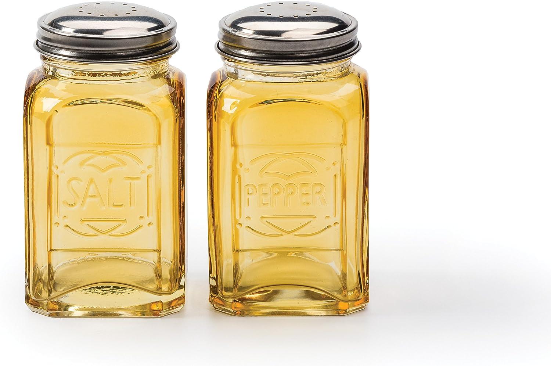 Vintage Amber Glass Salt /& Pepper Shaker Set