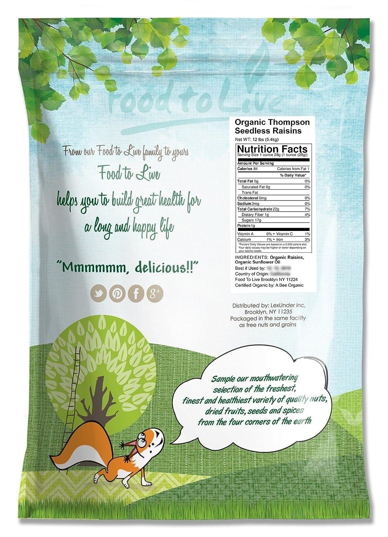 Food to Live Pasas sin semillas Thompson de California Bio (Eco, Ecológico, secado al sol, no OMG, Kosher) 5.4 Kg: Amazon.es: Alimentación y bebidas
