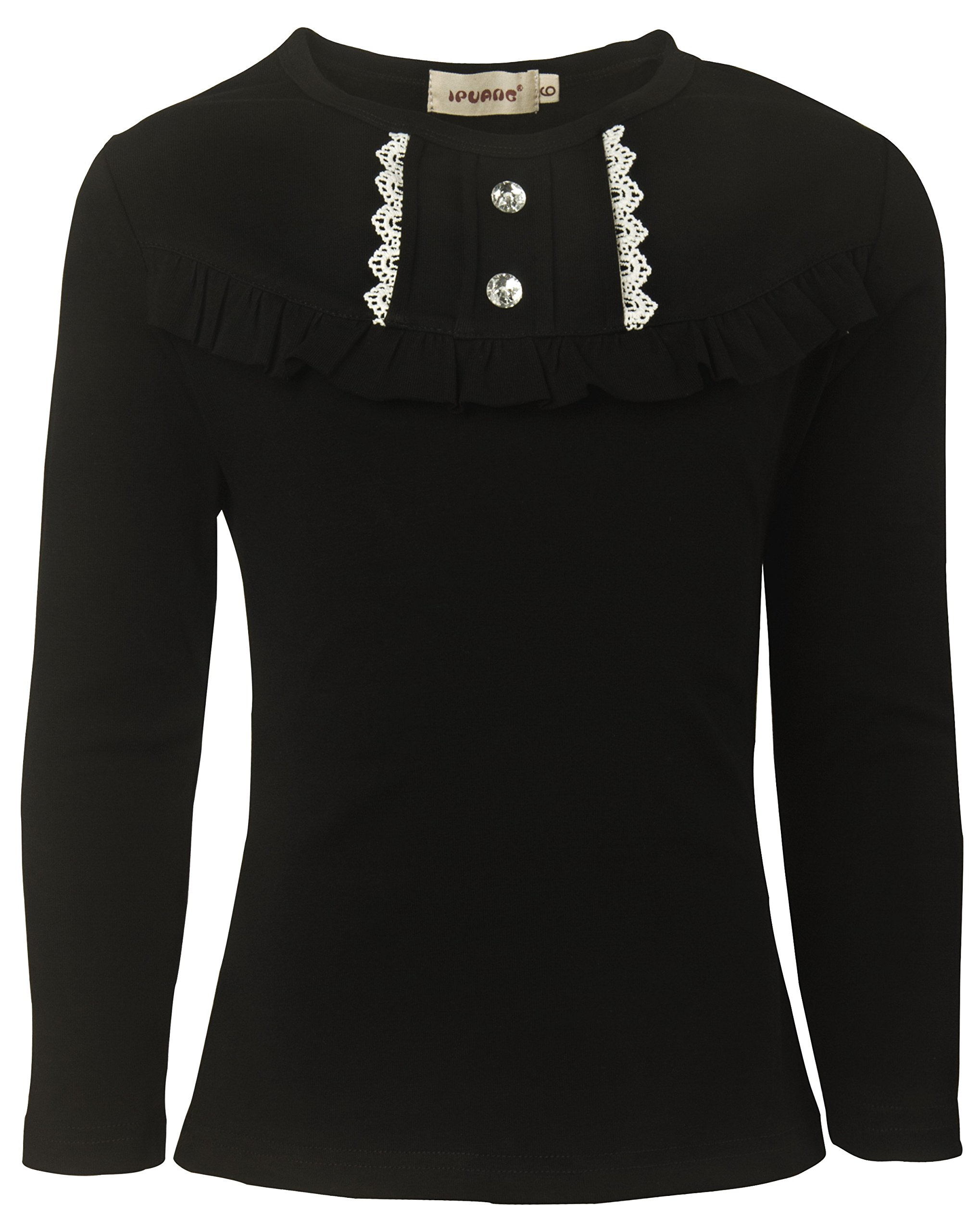Ipuang Little Girl Long Sleeve Cotton Ruffle T Shirt Top 6 Black