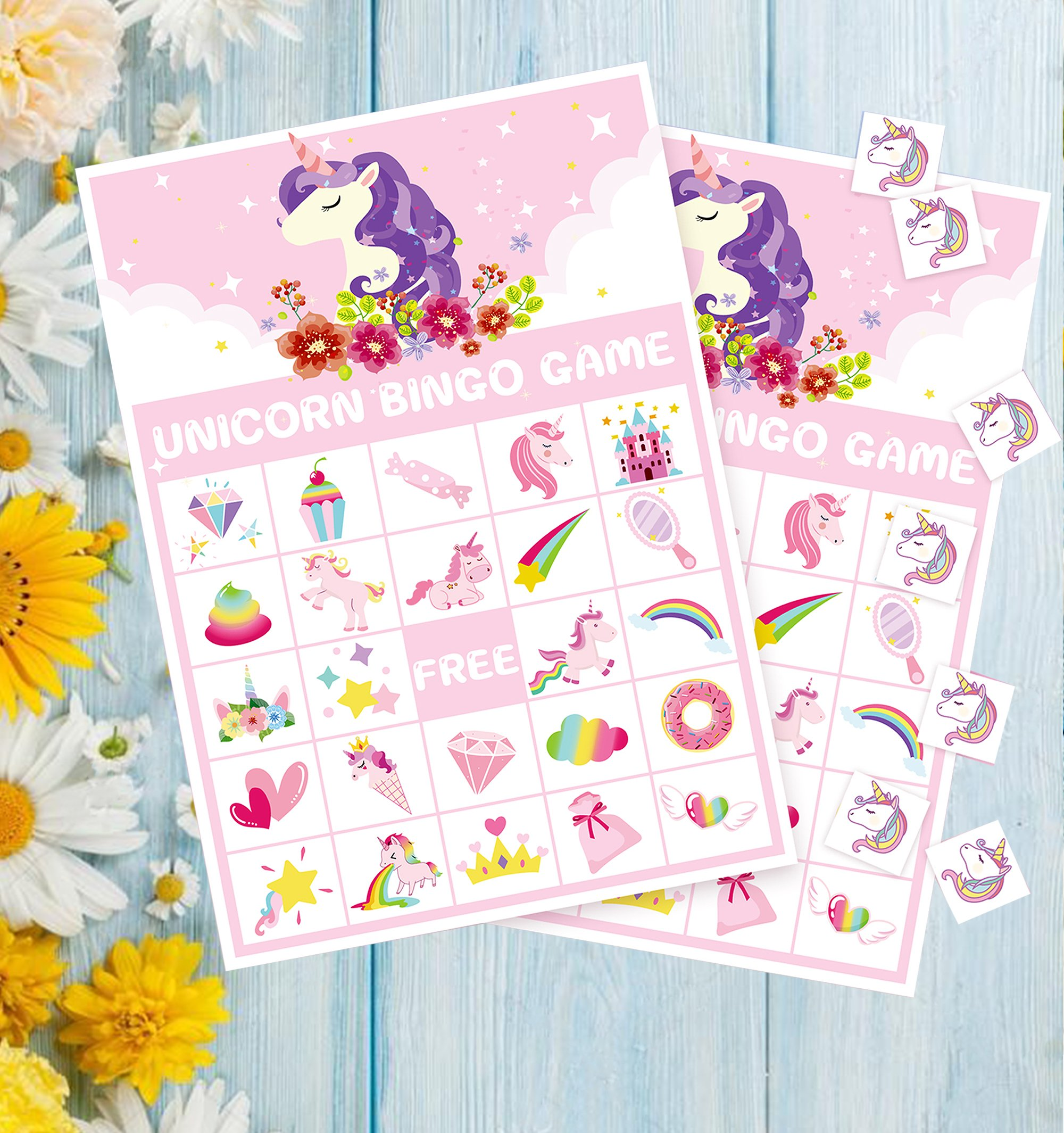 Unicorn Bingo Game Party Supplies - Girls Magical Rainbow Birthday ...