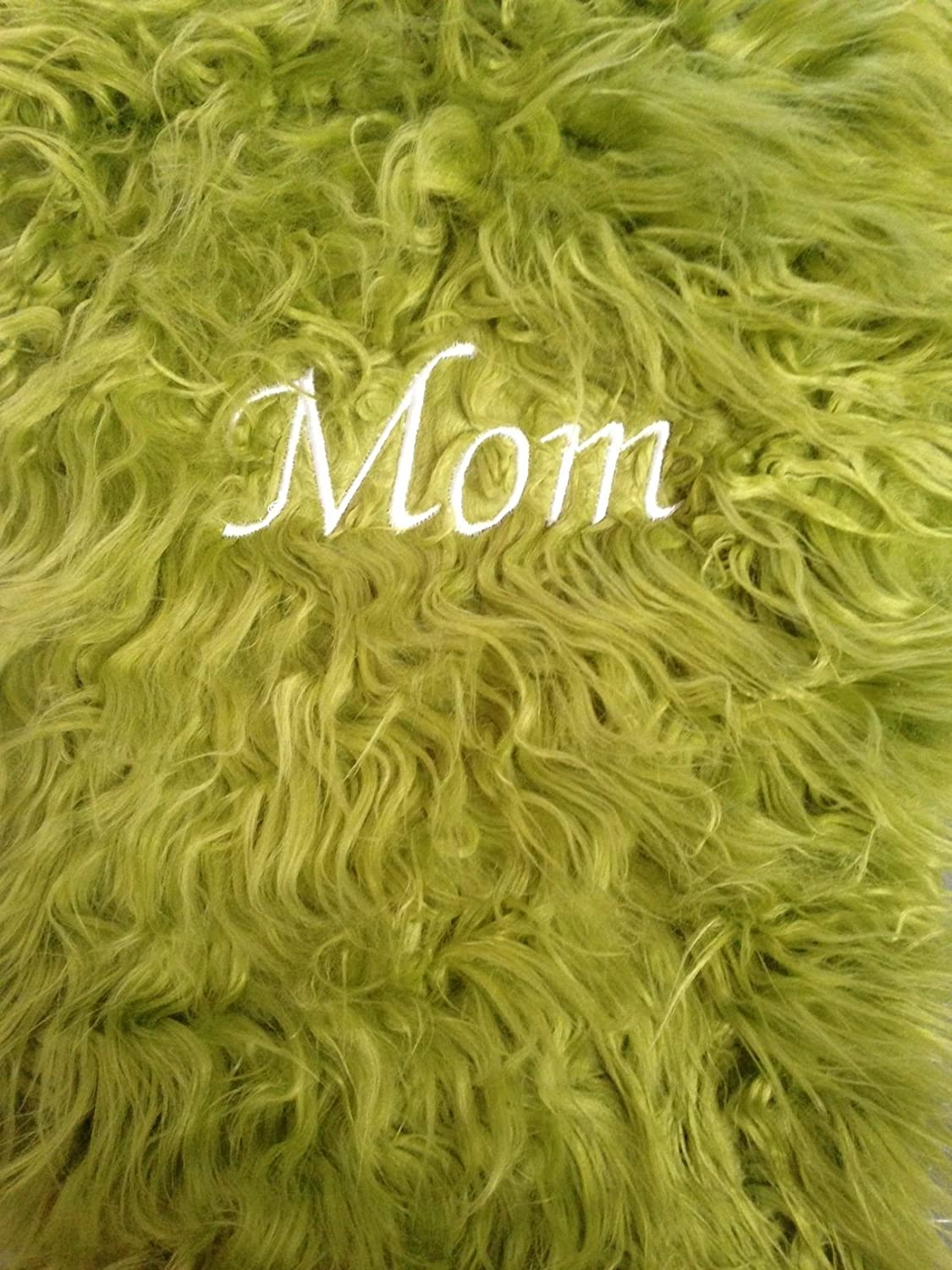 Luxurious Mongolian Olive Green faux fur Christmas Stocking. Fully lined. Whimsical fun stocking. Roomy, large, super soft.