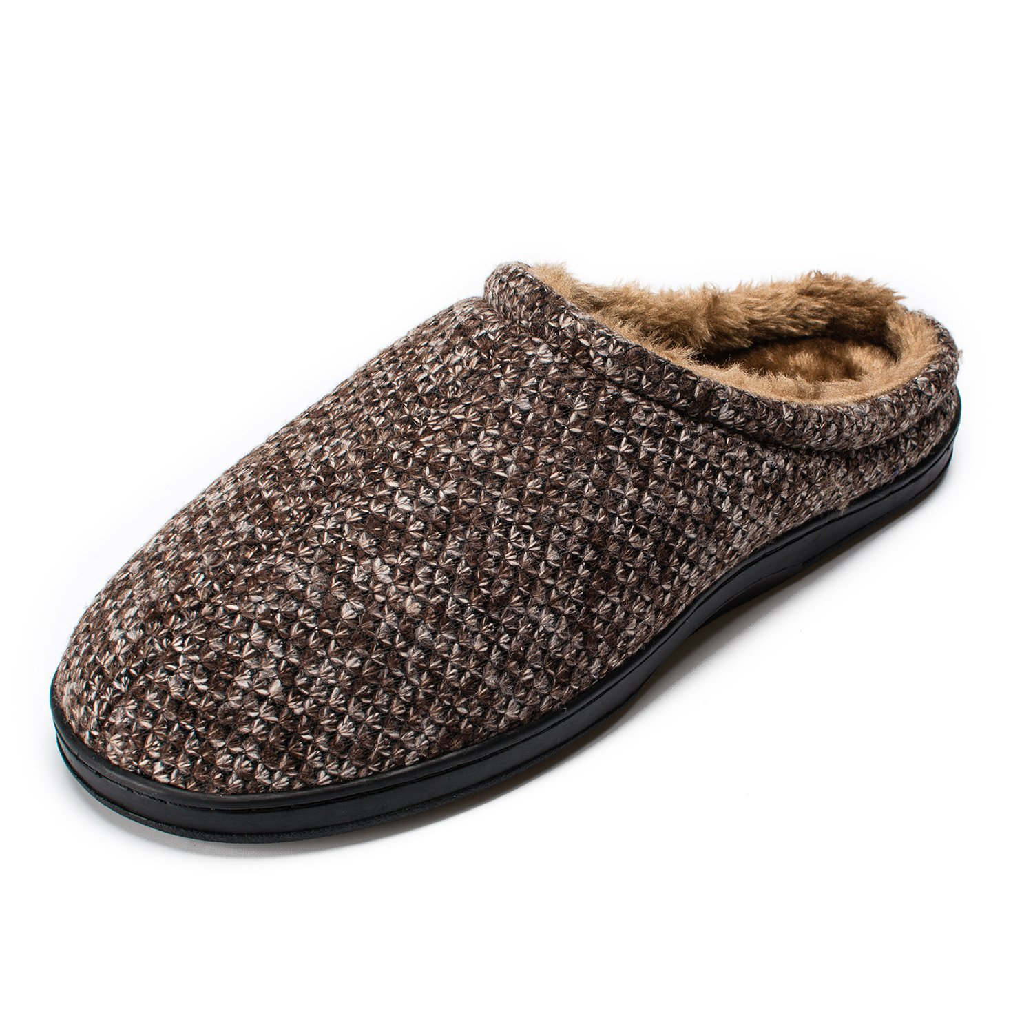 QXQY Mens Comfort Knitted Plush AntiSkid Sole House Slipper Indoor Shoes 11 D