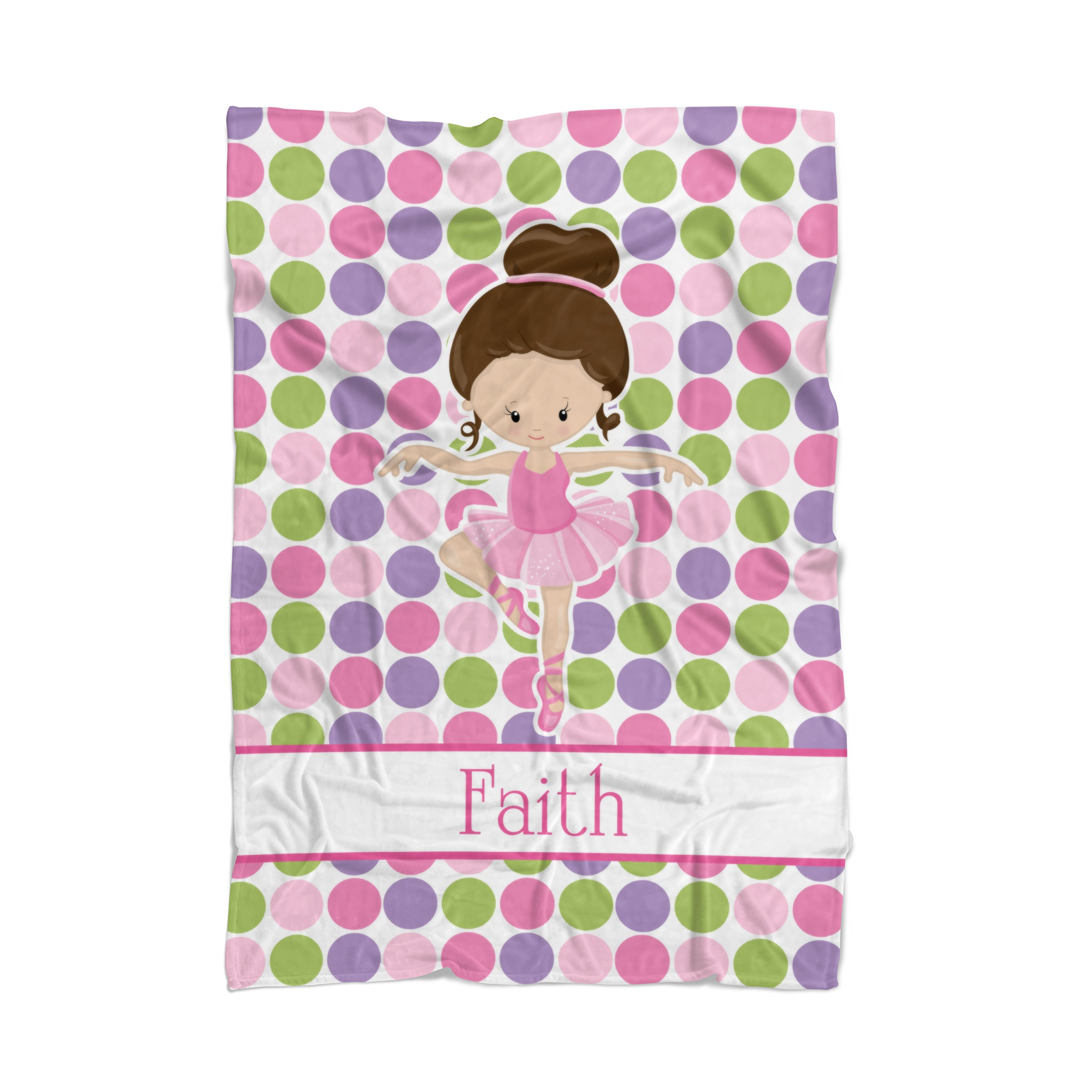 Ballet Blanket - Pink Dot Ballerina Personalized Name Blanket