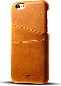 iPhone 6s / 6 Wallet Phone Case, XRPow Slim PU Leather Back Protective Case Cover with Credit Card Holder for Apple iPhone 6s Light Brown