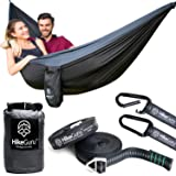 Camping Parachute Double Hammock with Tree Straps and Carabiners - Portable Extra Light Nylon Fabric and Large High Weight Capacity - Equipment for Outdoor Backpacking, Hiking, Travel, Beach, Yard