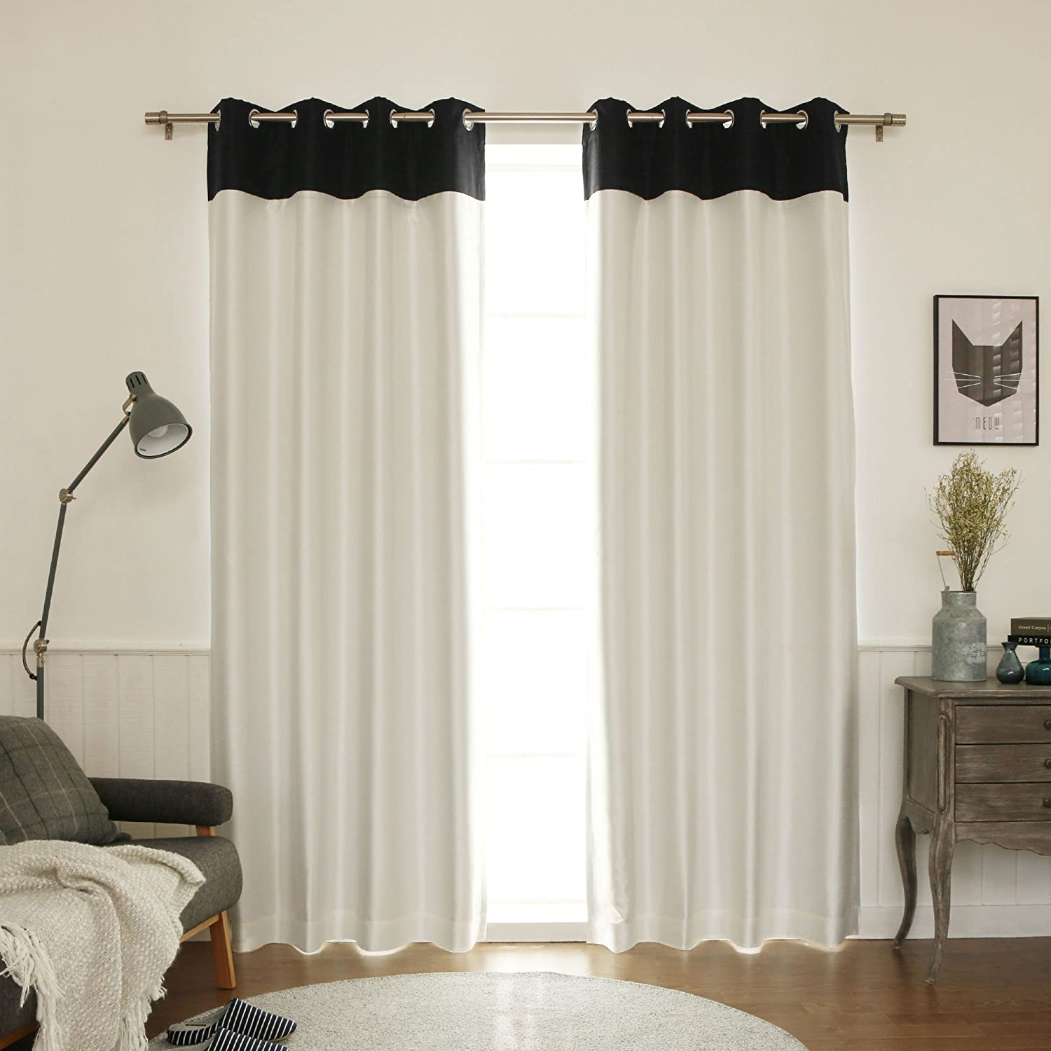 """Best Home Fashion Topborder Faux Silk Blackout Curtain - Stainless Steel Nickel Grommet Top - Black/Ivory - 52""""W X 84""""L - (1 Panel)"""