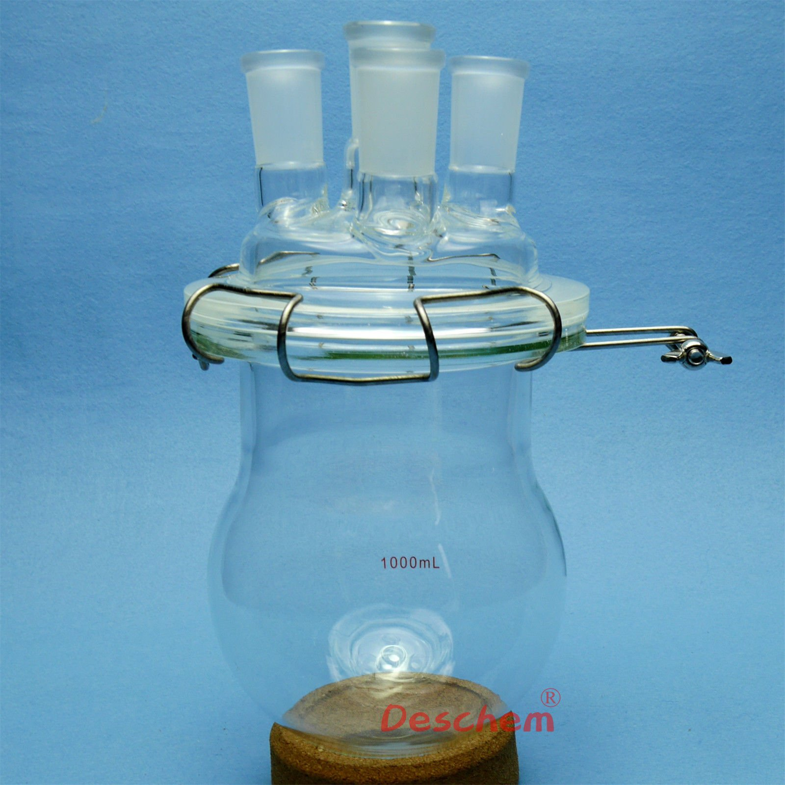 Deschem 1000ml,24/40,Glass Reaction Reactor,4-Necks,1L,Reaction Vessel W/Lid and Clamp by Deschem