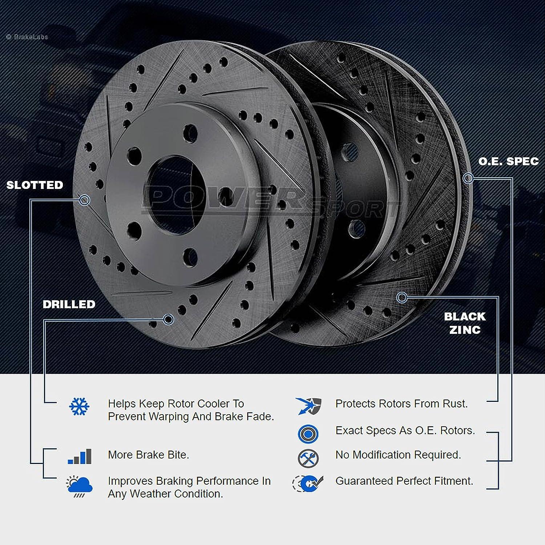 Fit 2013 Nissan Altima Front Rear Black Drill Slot Brake Rotors+Ceramic Pads