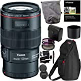 Canon EF 100mm f/2.8L is USM Macro Lens for Canon Digital SLR Cameras, 3 Piece 67mm Filter Kit (UV/CPL / FLD) and RitzGear Accessory Kit