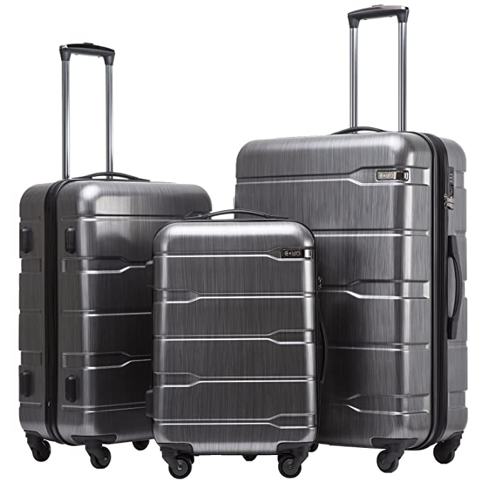 Coolife Luggage Expandable 3 Piece Sets PC+ABS Spinner Suitcase 20 inch 24 inch 28 inch (Charcoal new) best high school graduation gifts