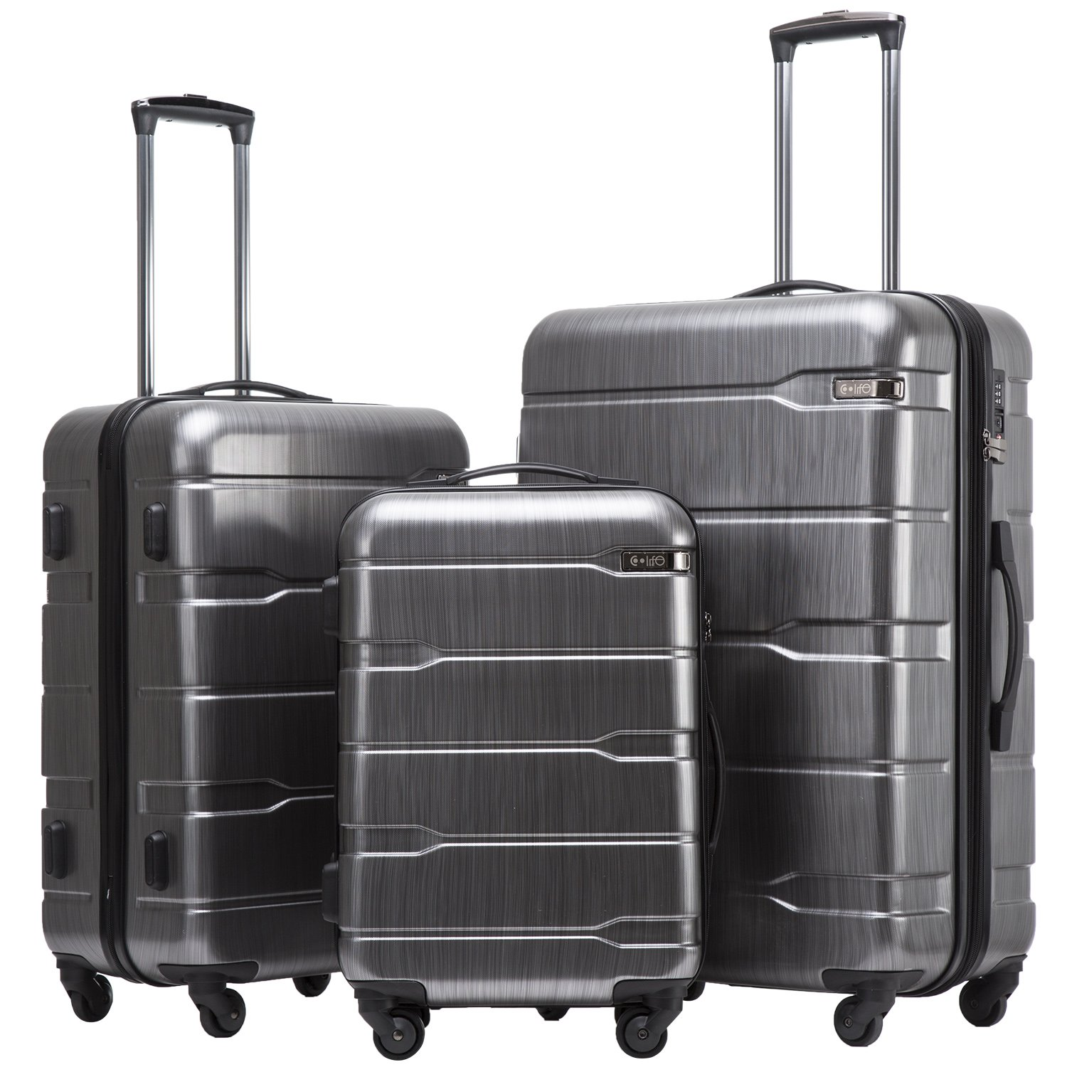 Coolife Luggage 3 Piece Sets PC+ABS Spinner Suitcase 20 inch 24 inch 28 inch (Charcoal)