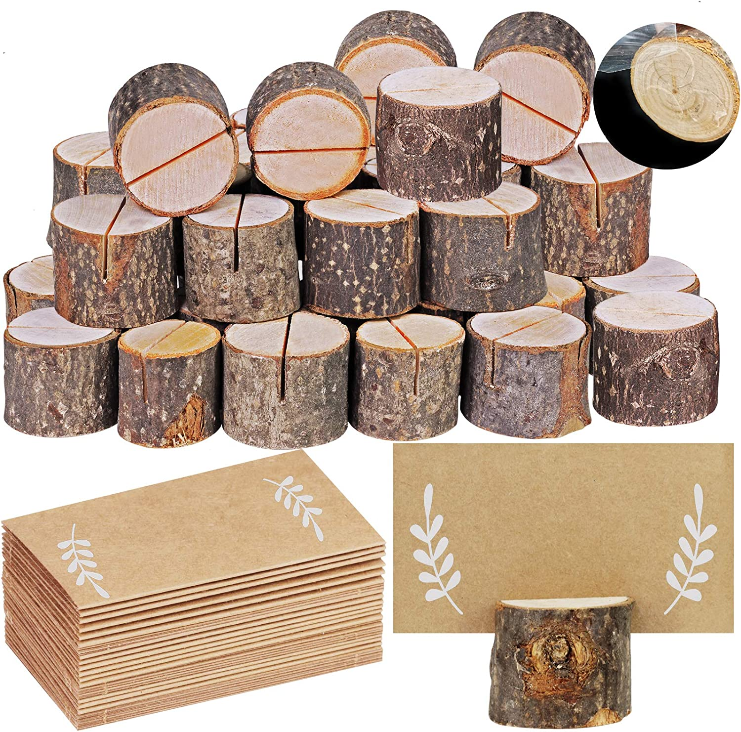 30 Pcs Rustic Wood Place Card Holders Circular Table Numbers Holder Stand Wooden Bark Memo Holder Card Photo Picture Note Clip Holders and Kraft Place Cards Bulk Wedding Party Table Number Sign