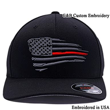 92938c61102 Flexfit Thin Red Line Waving USA Flag. Embroidered. 6477 Wool Blend ...