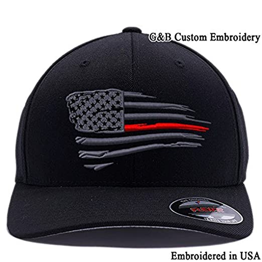 5fdfe7c16d7 Flexfit Thin Red Line Waving USA Flag. Embroidered. 6477 Wool Blend ...