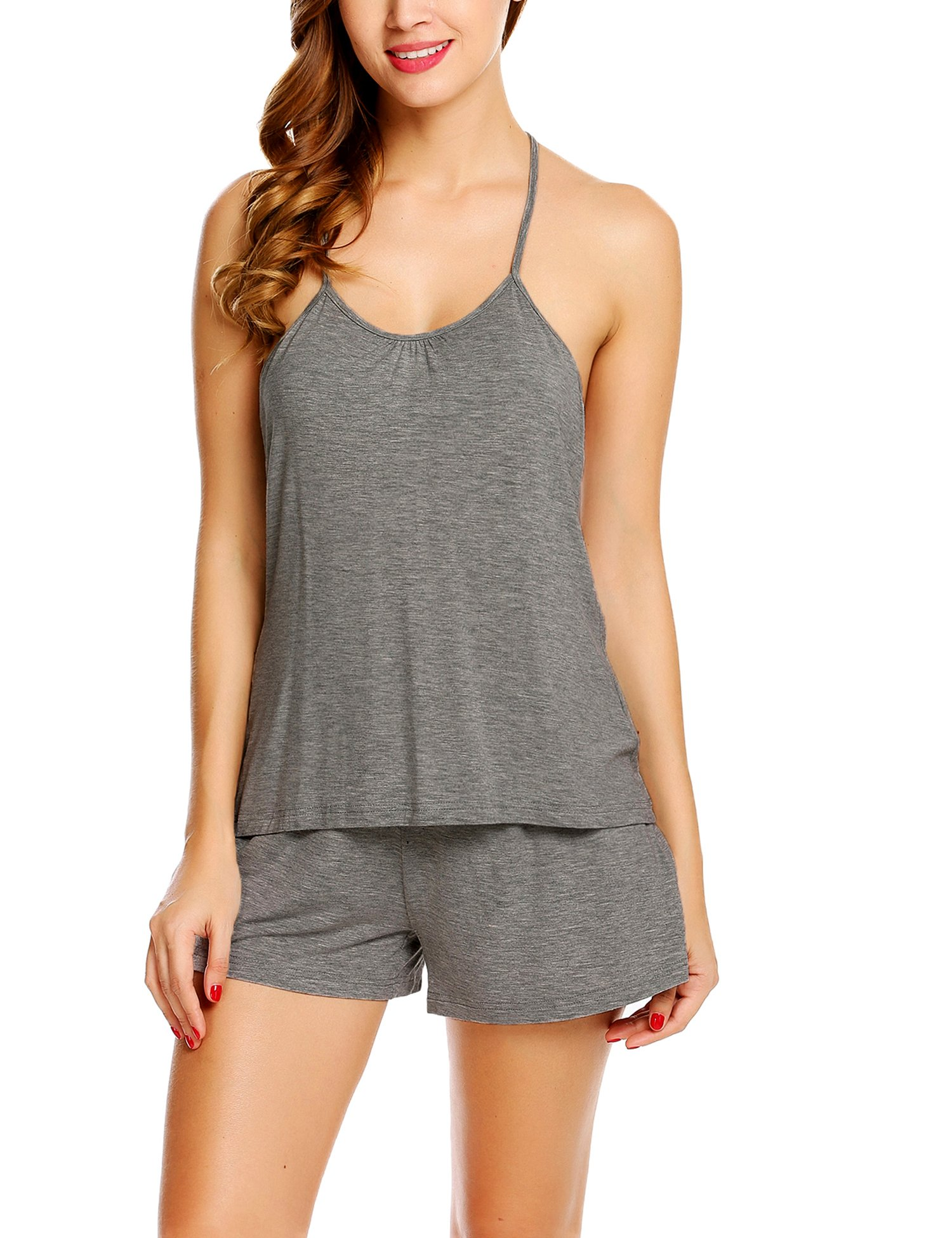 Avidlove Women's Halter Pajama Shorts Set Cotton Sexy Tank Pants Two Pieces Gray XX-Large