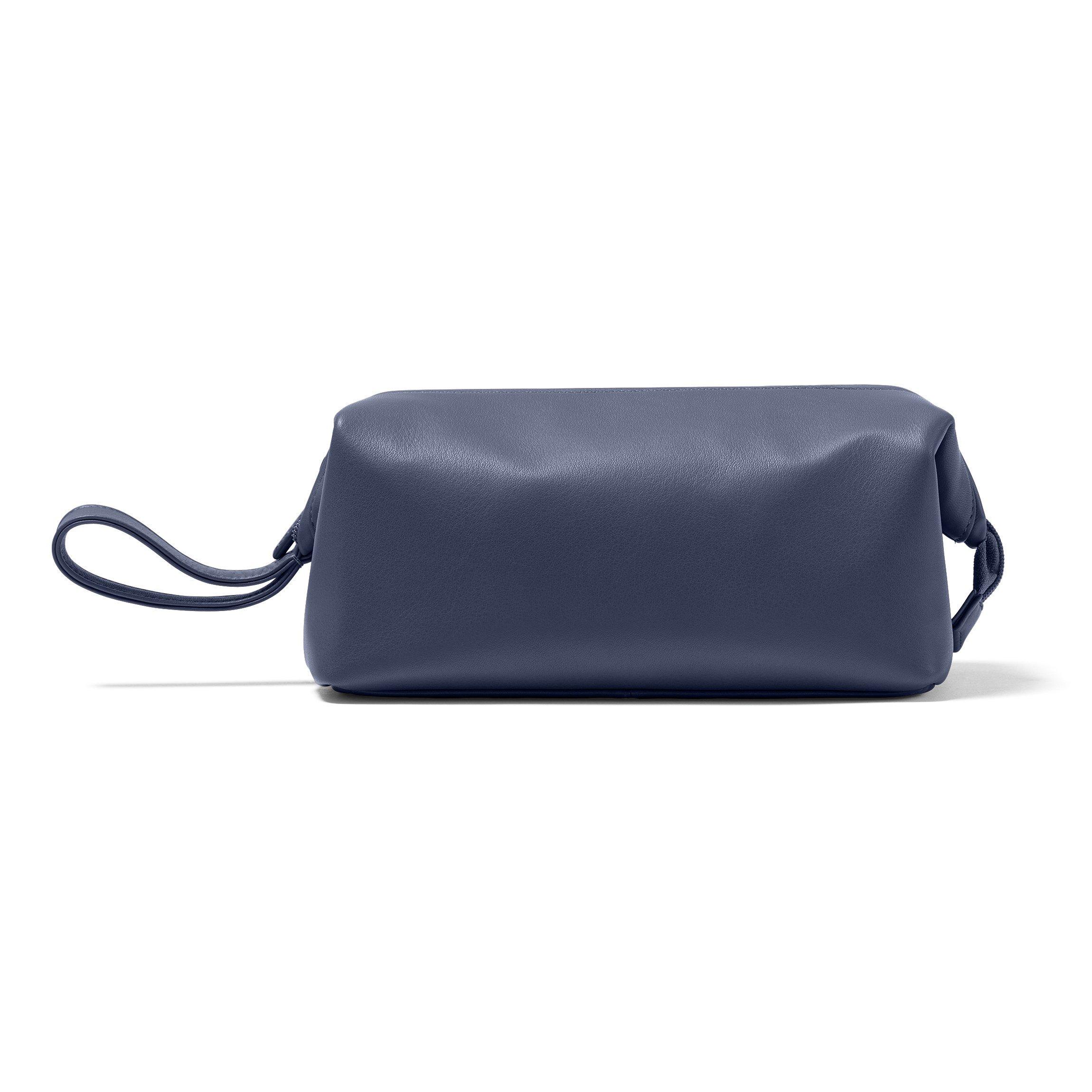 Leatherology Framed Toiletry Bag - Full Grain Leather - Navy (blue)